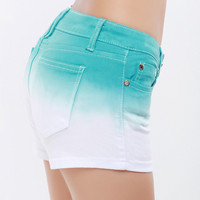 Gradient Color Denim Green Shorts