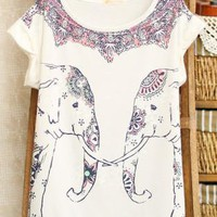 Two Elephants Print T-shirts