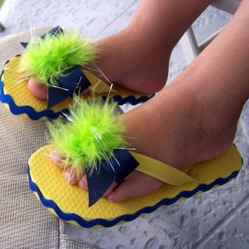 Flip Flops Navy Bow with Green Feather Accent Yellow Pageant Boutique | NinasCD - Clothing on ArtFire