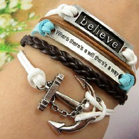 Vintage Anchor Leather Rope Believe Infinity Bracelet