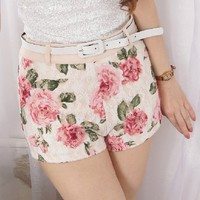 Low Waisted Flower Lace Shorts