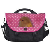 Cute bird in the pink pocket design laptop computer bag from Zazzle.com