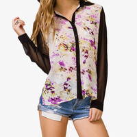 Colorblocked Floral Shirt