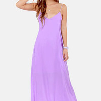 I'll Slink to That Lavender Maxi Dress
