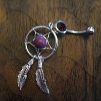 Dream Catcher Belly Button Ring -- Dark Amethyst