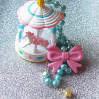 Pastel Carnival - Glass Pearl Necklace with Carousel and Bow Charm