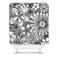 DENY Designs Home Accessories | Madart Inc. All Over Flowers Black White Shower Curtain