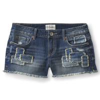 Patchwork Medium Wash Denim Shorty Shorts - Aeropostale