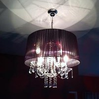 Crystal Chandelier Accented by Modern Black Shade by DRGinteriors