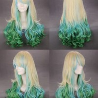 "Taobaopit 24"" Wavy Multi - Color Lingt Blonde Blue Green Lolita Cosplay Wig"