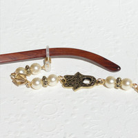 Pearl Eyeglass Chain with Gold Hamsa Hand and Crystal