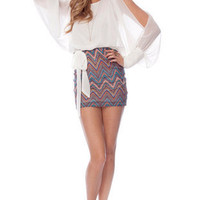 Sandy Zig Zag Combo Dress in Ivory Multi :: tobi