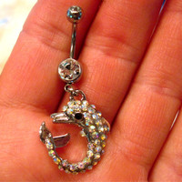 Navel Ring Belly Button Ring Clear & AB Crystal Dolphin Rhinestones Barbell Naval Bellyring