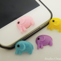 1PC Resin Cute Animal Elephant iPhone Home Button Sticker for iPhone 5, 4, 4s, 4g, Cell Phone Charm, Kids Gift