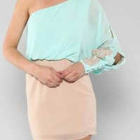 Aqua and Taupe One Shoulder Dress