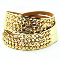 women jewelry bangle gold PU leather with crystal, fashion wrap bracelet, girl bracelet  RZ0298