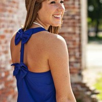 Blue Double Bow Back Tank