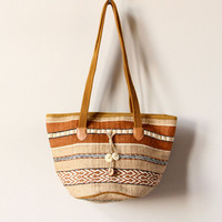 Boho Basket Bag, woven jute rope striped hippie purse, 80s 90s oversized soft bucket handbag, neutral earth tone beach tote, tan, chestnut