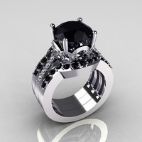 Classic 14K White Gold Black Diamond Wedding Band by artmasters