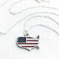 USA Necklace, Map Necklace, Red White and Blue Jewelry, Fourth of July, 4th of July, July Fourth Jewelry, Patriotic, American, Enamel