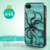 iPhone 4 Case, iPhone 4S Case - Vintage Octopus, Blue, iPhone Case, Case for iPhone - 1A2130