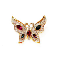 Signed Crystal Rhinestone Butterfly Pin / Brooch