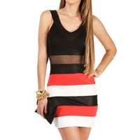 BlackCoral Colorblock Bandage Dresses