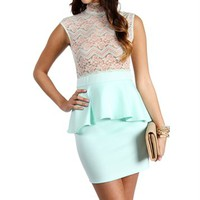 MintPeach Peplum Dress