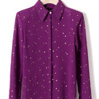 Golden Stars Shirt in Purple