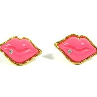 Bubblegum Pink Lips Earrings Studs Love Kiss Retro Crystal Vintage Gold Tone Pin Up Posts Fashion Jewelry:Amazon:Jewelry
