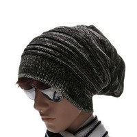 Allegra K Men Textured Design Stretch Knit Cap Beanie Hat Black Off-White:Amazon:Clothing