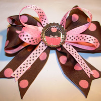 Adorable light pink and brown polka dot by LizziesBowtique1