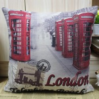 "Vintage London Old Red Phone booth Telephone Box Print Linen Cushion Cover 18"":Amazon:Home & Kitchen"