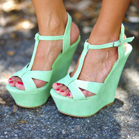 Wait For Me Wedges: Sea Green | Hope's