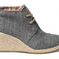 Black Chambray Women's Desert Wedges | TOMS.com