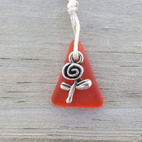 Fire Orange Sea Glass Necklace Rose Charm