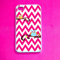 Owl with Chevron Pattern iphone 4 Case, iPhone 4s case -  iPhone 4 Cases, Iphone 4s Cover,Case for iPhone 4