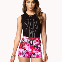 High-Waisted Rose Shorts | FOREVER21 - 2047691521