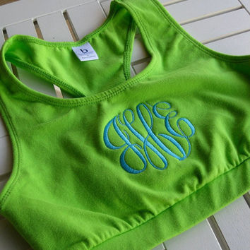 Monogrammed Sports Bra by hadleyandfinn on Etsy