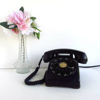Vintage Rotary Phone Black Western Electric by ItchforKitsch
