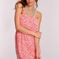 Rose Leopard Print Strapless Dress