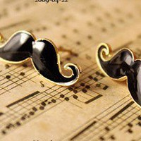 Vintage Black Mustache Stud Earrings at Online Jewelry Store Gofavor