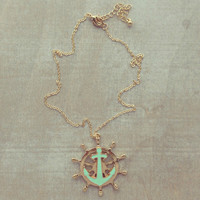 Pree Brulee - Mint Anchor Ahoy! Pendant Necklace