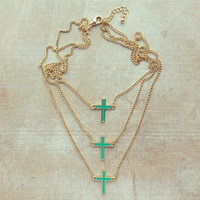 Pree Brulee - Triple Mint Crosses Necklace