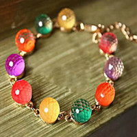 Retro colorful candy-colored beads, crystal beads bracelet [br10] - $2.05 : Supply super low prices fashion jewelry and costume jewelry--Favor21.com