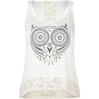 FULL TILT Owl Lace Back Womens Tank 206349151 | Graphic Tees & Tanks | Tillys.com