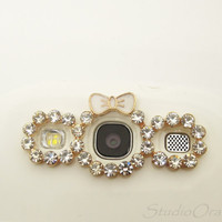 1PC Bling Crystal Bow Charms Samsung S3 Camera Frame, Smart Phone Charm, Gift for Her
