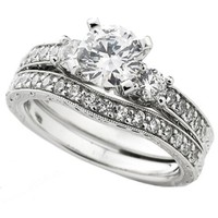 14k White Gold Round Diamond Ladies Bridal Ring Engagement Semi Mount Set 3/4 CT (0.75 cttw, H-I Color, I1 Clarity) Center not included