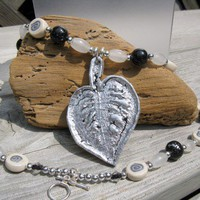 Silver Leafed Leaf Necklace Hand Made
