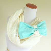 Tiffany Bow Lace infinity long scarf